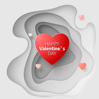 Papierkunstkonzept des valentinstags. 14. februar grußkartenhülle. liebe romantische botschaften mit herzen. herzen auf abstraktem liebeshintergrund. schnitzen sie papierbanner mit herz. illustration