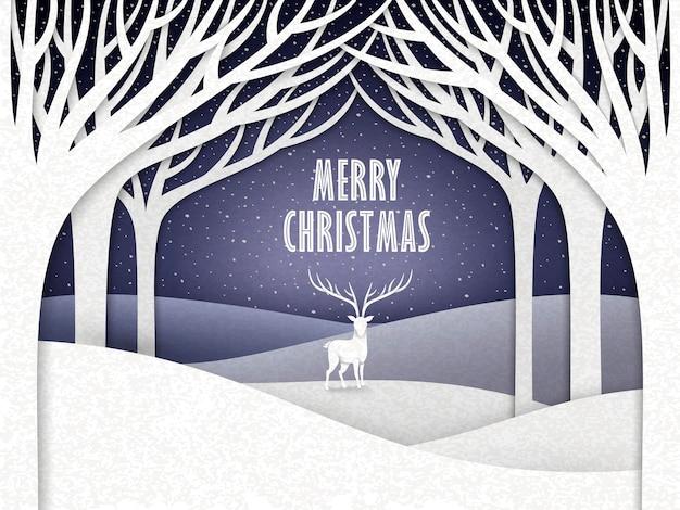 Papierlandschaft der weihnachtsnacht mit elch und wald