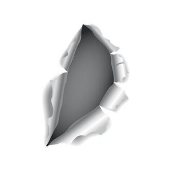 Papierloch. realistisches vektor-zerrissenes papier mit gerissenen kanten. zerrissenes loch im blatt papier. vektorillustration
