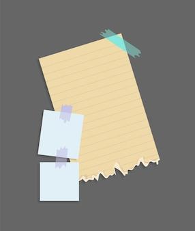 Papiernotizen aufkleber. platz für memo-nachrichten auf papierbögen.