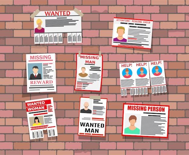 Papierplakat der gesuchten person. fehlende ankündigung
