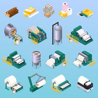 Papierproduktionsikonen, die mit holz- und drucksymbolen isometrisch isoliert eingestellt werden
