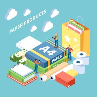 Papierproduktionskonzept mit symbolen für fertigprodukte isometrisch