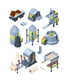 Papierproduktionsset. industrielle herstellung von papier aus holzwerken industriemühle zellstoff papier schärfen für druckhaus vektor isometrische bilder. gerätehardwarepresse, abbildung der fertigungsfabrik
