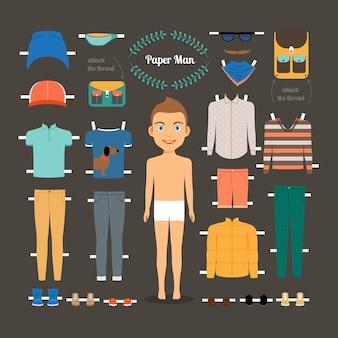 Papierpuppenmannschablone. schuhe und jacke, modellpuppe, papierkleidung und kleid. vektorillustration
