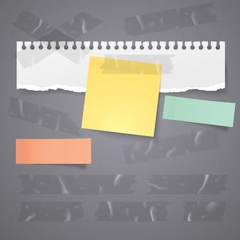Papierriss und haftnotiz mit transparentem klebeband