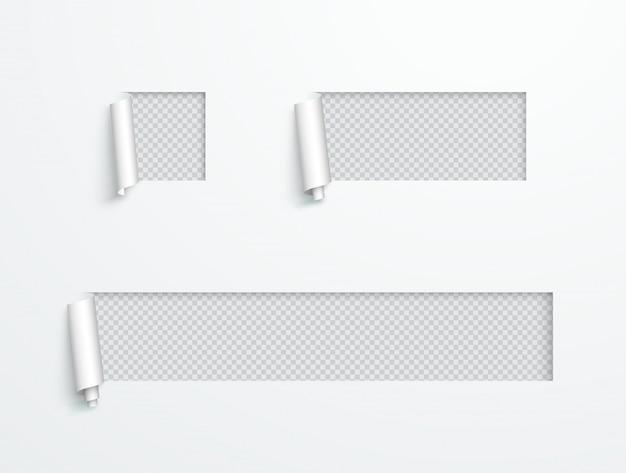 Papierschale zurückgeschnittener beschriftungs-vektor-satz