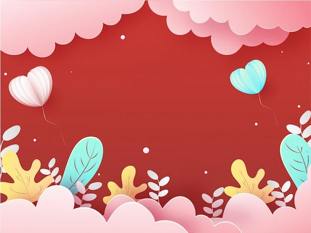 Papierschnitt-art-bewölkter roter hintergrund mit herzförmigen ballonen und autumn leaves.