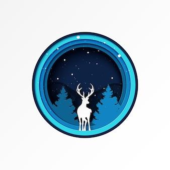 Papierschnitt der rotwild- und kiefernwaldwintersaisonlandschaft und -weihnachts.