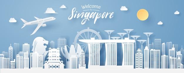 Papierschnitt des singapur-marksteins