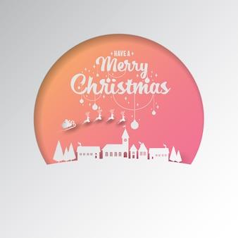 Papierschnitt durch den weihnachtsmannschlitten, der in das winterdorf fliegt.