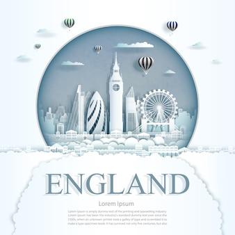 Papierschnitt england denkmäler mit heißluftballons und wolken hintergrundvorlage