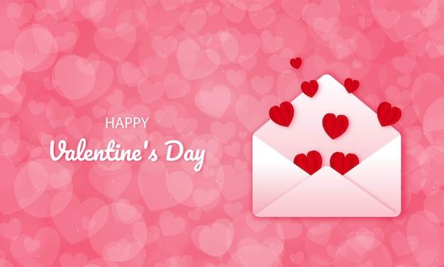 Papierschnitt glücklich valentinstag konzept. geöffneter umschlag und herzen auf rosa hintergrundpapierkunststil.