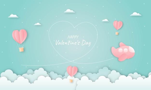 Papierschnitt glücklich valentinstag konzept. herzen geformte heißluftballons und flugzeug, die auf blauem himmel fliegen
