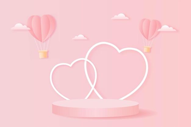 Papierschnitt glücklich valentinstag konzept. landschaft mit wolke, herzform heißluftballons fliegen und geometrieform podium auf rosa himmel hintergrundpapier kunststil.