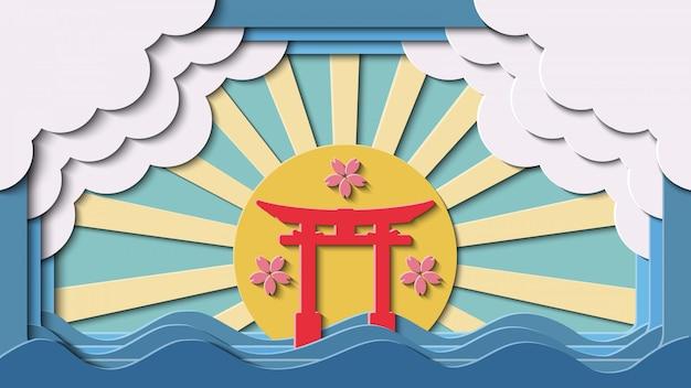 Papierschnitt japanischer tor-markstein-vektorhintergrund
