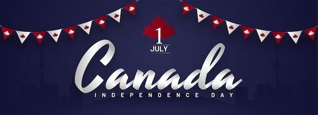 Papierschnitt kanada schriftart mit national color bunting flaggen, silhouette cn tower und anderen gebäuden auf blauem hintergrund für den unabhängigkeitstag am 1. juli.