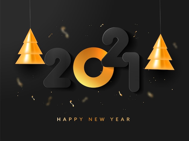 Papierschnitt-nummer mit hängenden goldenen weihnachtsbäumen und konfetti auf schwarzem hintergrund für ein glückliches neues jahr.