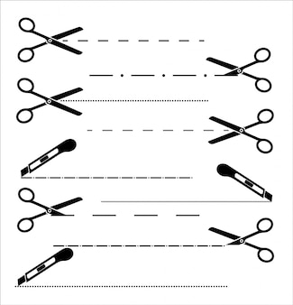 Papierschnitt-symbol mit gepunkteter linie. schere mit schnittlinien. satz scheren.