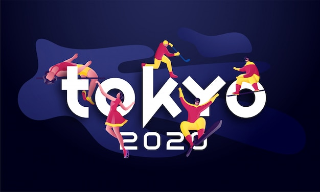 Papierschnitt tokio 2020 text mit gesichtslosem sportler in unterschiedlicher aktivität auf abstraktem blauem hintergrund.