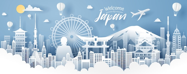 Papierschnitt von japan-markstein-, reise- und tourismuskonzept, vektor env 10.