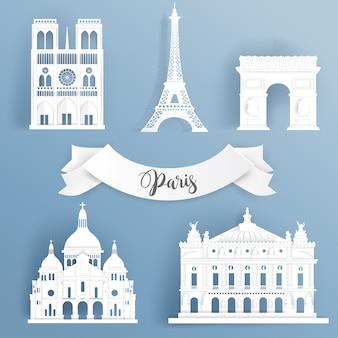 Papierschnitt von weltberühmten marksteinelementen von paris