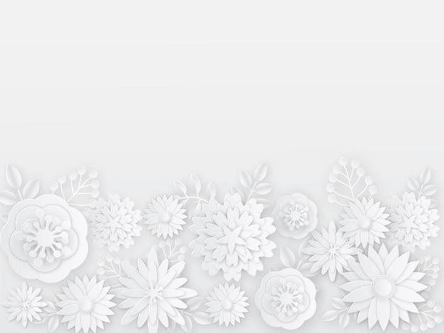 Papierschnitt weiße blumen isoliert auf weiß