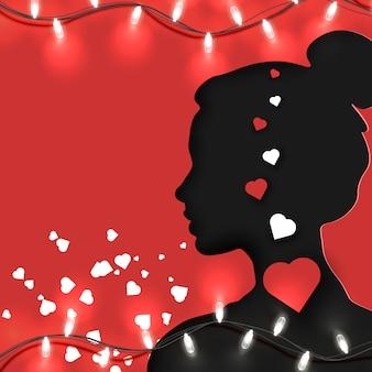 Papierschnittart der form der frau oder des jungen mädchens mit herzen nach innen auf rot mit hellem girlanden- und kopienraum für ihre kunst. valentinstag, muttertag und frauentag.