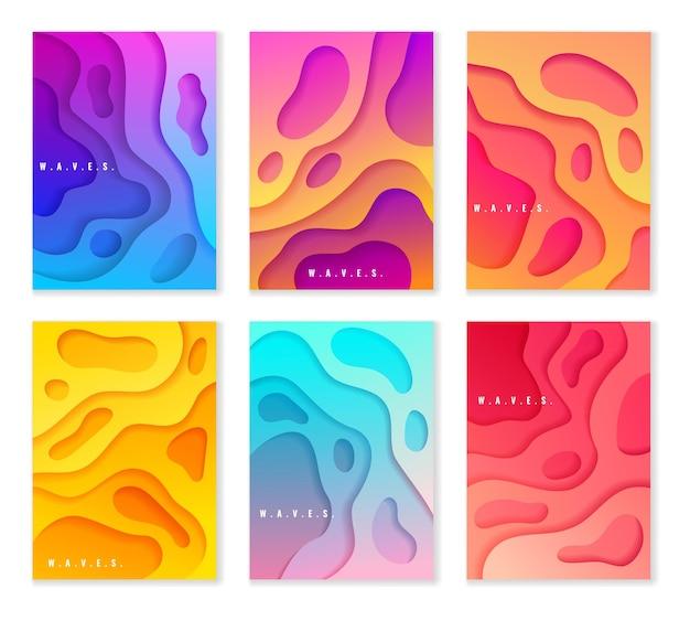 Papierschnittart-farbverlauf-banner gesetzt