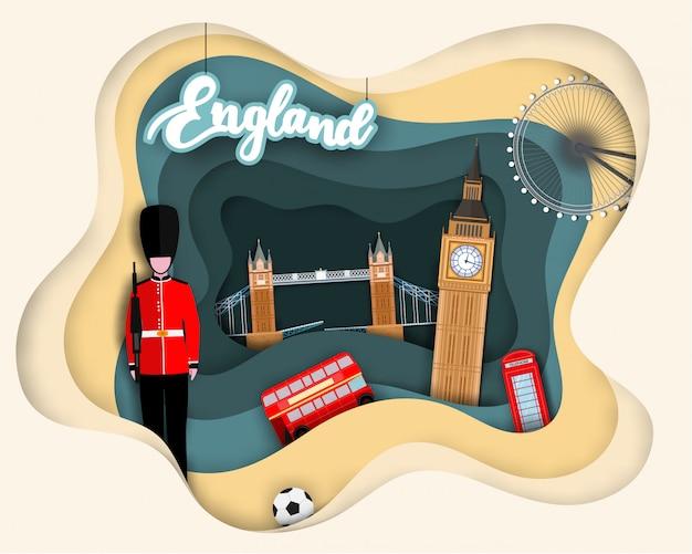 Papierschnittdesign der touristischen reise england