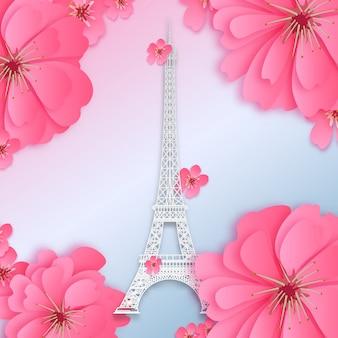 Papierschnittdesign mit rosa blume und weichem paris