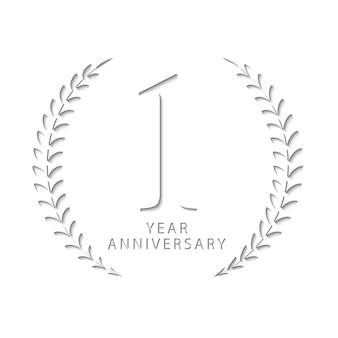 Papierschnittentwurf des 1-jährigen jubiläums, um den namen des 1-jährigen jubiläums darzustellen, der papier, vektorschablone ist