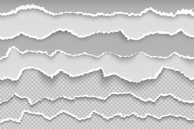 Papierseite zerreißen. zerrissene seite transparente grunge grenze, gebrochener weißer karton, grob beschädigte scrapbook-textur. schmierpapier