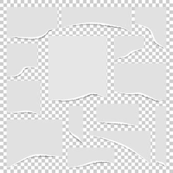 Papierset mit zerrissenen kanten. illustration.