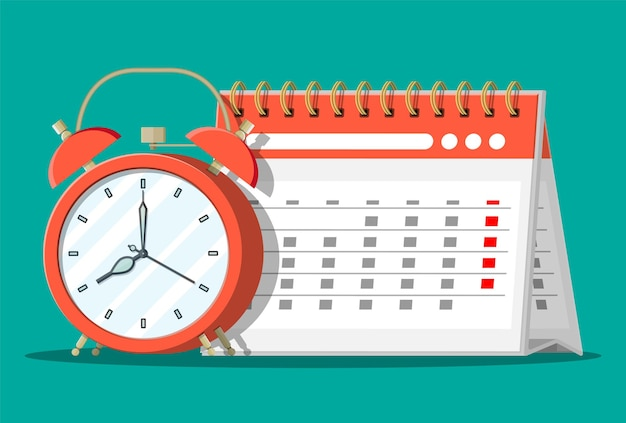 Papierspirale wandkalender und uhren. kalender und wecker. zeitplan, termin, veranstalter, arbeitszeittabelle, zeitmanagement, wichtiges datum.