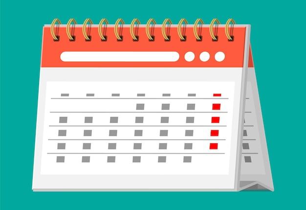 Papierspiralwandkalender lokalisiert auf türkis