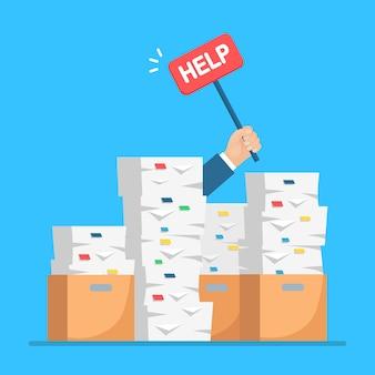 Papierstapel, dokumentenstapel mit karton, karton. gestresster angestellter in papierkram. beschäftigter geschäftsmann mit hilfezeichen. bürokratiekonzept. cartoon design