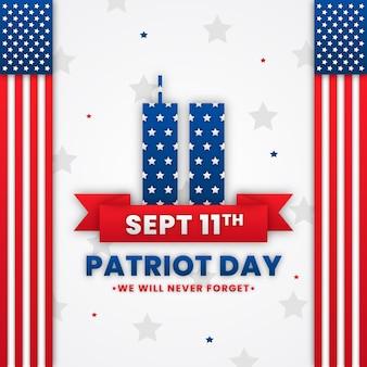 Papierstil 9.11 patriot day illustration