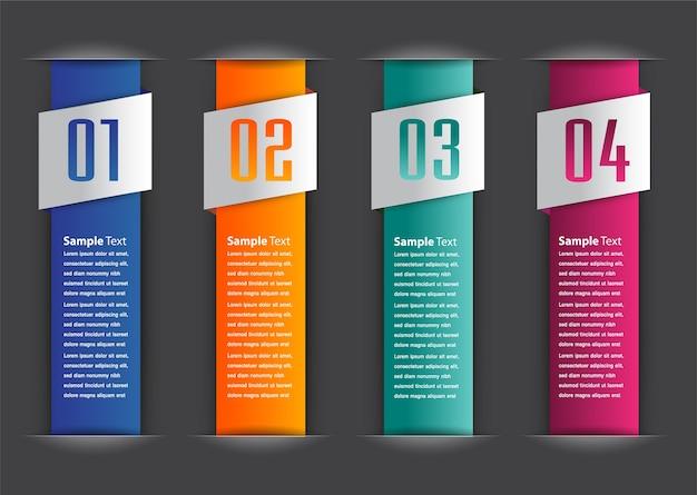 Papiertextboxschablone, fahne infographics