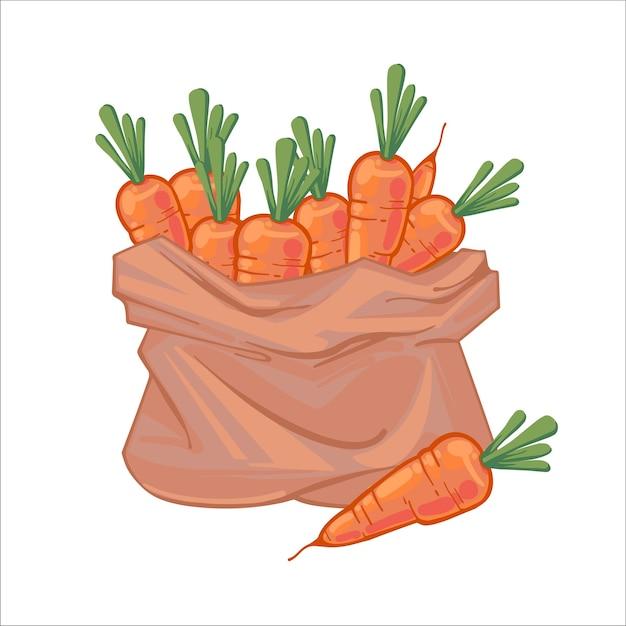 Papiertüte voller saftiger reifer orangefarbener karotten. leinentasche mit karotten. organisches gemüse. hand gezeichnete illustration lokalisiert auf weißem hintergrund. icons taschen mit gemüse.