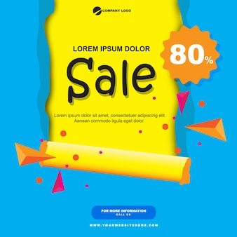 Papierverkauf banner flach blau und gelb