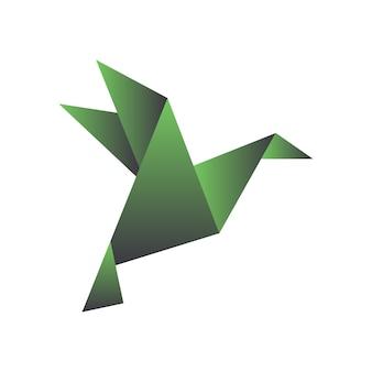 Papiervogel im origami-stil geometrische form aus gefaltetem papier vorlage für logo