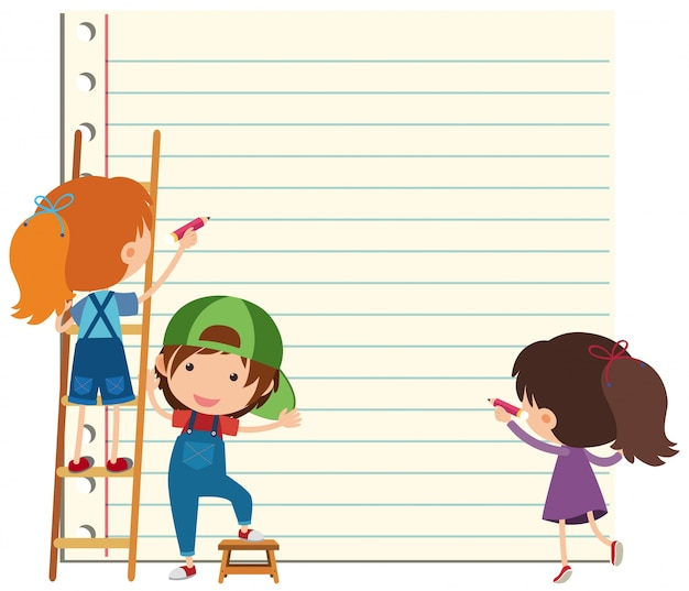 Papiervorlage mit glücklichen kinder schreiben