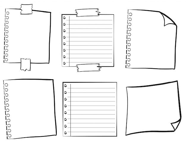 Papiervorlagen in verschiedenen designs