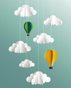 Papierwolken und ballone auf blauem hintergrund