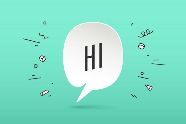 Papierwolkengespräch mit text hallo