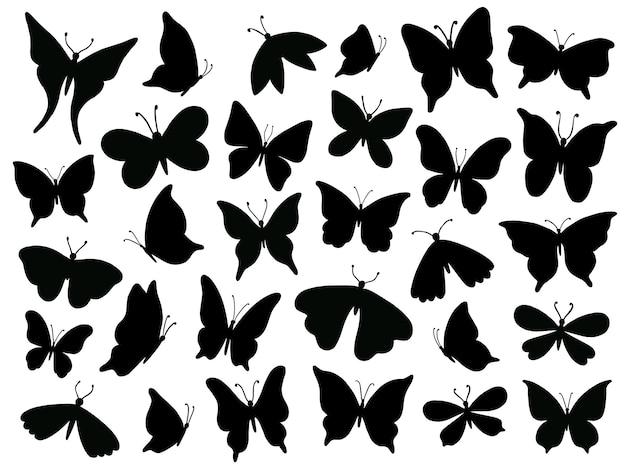Papillon-schattenbild, mariposa-schmetterlingsflügel, mottenflügelschattenbilder und frühlingsblumenschmetterlinge lokalisierten satz