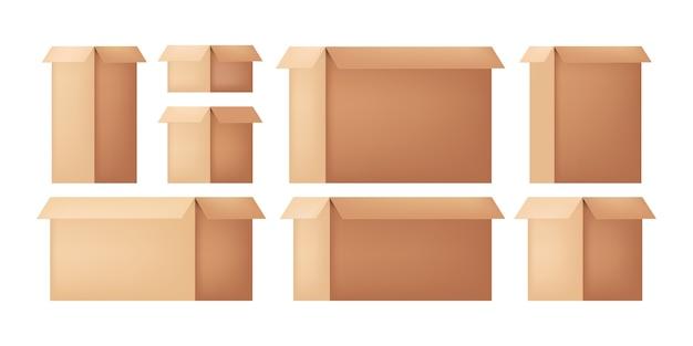 Pappkarton. postpaket öffnen. wellpappenverpackung. box für den umzug. ein ort für alte dinge. isolierte objekte.