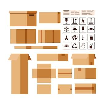 Papppakete-box-ersteller mit verpackung und informationen singt isoliert auf weißem hintergrund