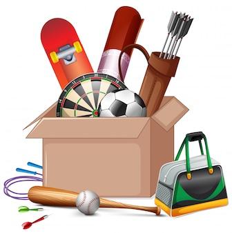 Pappschachtel voll sportausrüstungen lokalisiert